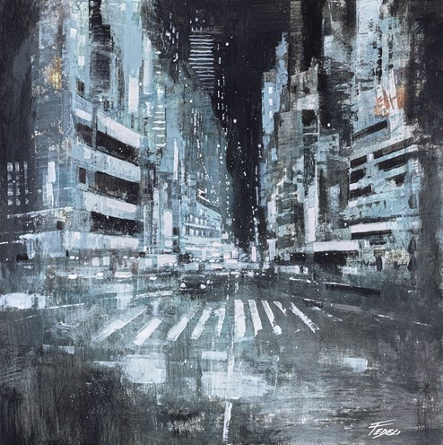 Luci Nella Notte by Paolo Fedeli - Original Painting on Stretched Canvas